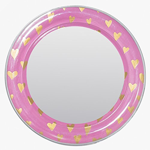 Pink Locker Room - 3C4G Magnetic Locker Mirror, Pink with Gold Hearts