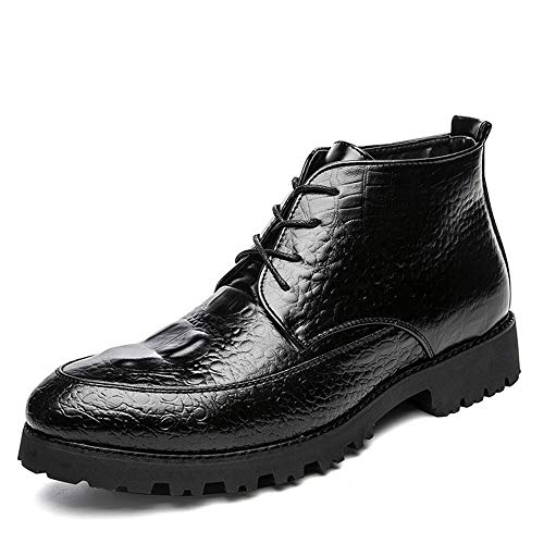 Gobling Men's Fashion Ankle Boots High-Top Crocodile Texture Pure Color Lace-up Chukka Boots (Color : Black, Size : 9.5 D(M) US) ()