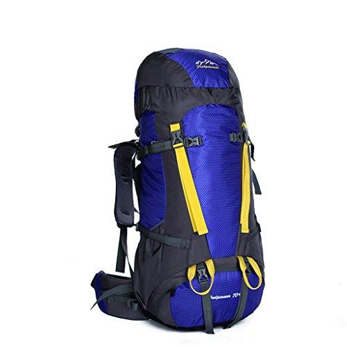 bolso del alpinismo profesional del bolso del recorrido del hombro a prueba de agua al aire libre los hombres y las mujeres viajan de mochila 75L azul