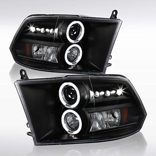 Autozensation For Dodge Ram Truck Black LED Halo Projector Headlights Pair