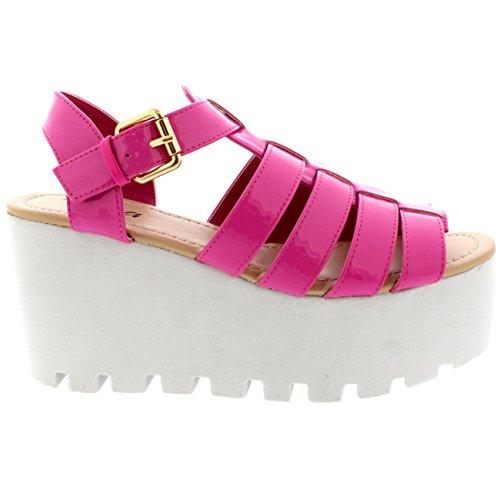 Viva Festival Patente Heeled Mujer Claro Zapatos a Rosa Sandalias Tiras Cu Holograma Gladiador r5Xrq7w