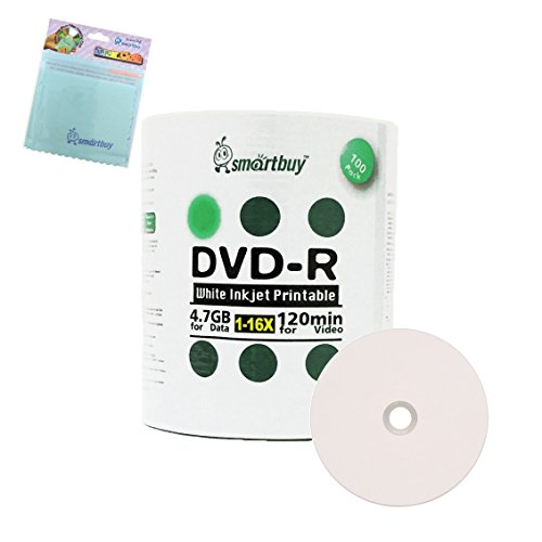 Smartbuy 100-disc 4.7GB/120min 16x DVD-R White Inkjet Hub Printable Blank Media Disc + Free Micro Fiber Cloth by Smartbuy