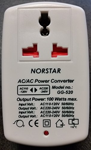 Travel Voltage Transformer - Norstar 100 Watt Step Up and Down Two way Universal Travel Voltage Transformer Converter