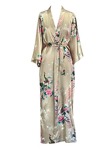 - Old Shanghai Women's Kimono Long Robe - Peacock & Blossoms - Champagne (on-seam pocket)