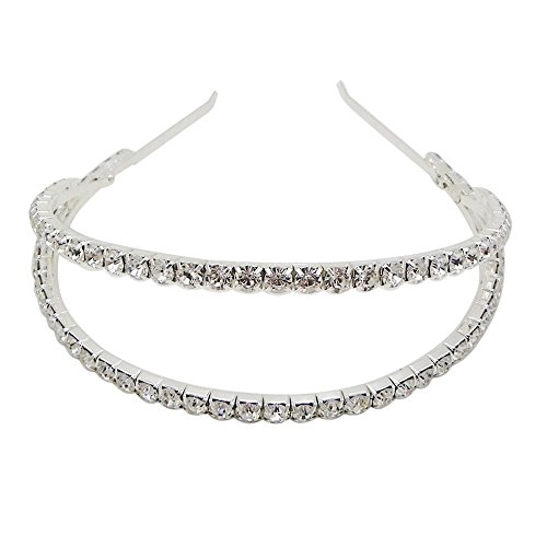 Rosemarie Collections Women's Split Double Row Crystal Fashion Headband (Silver (Double Costumes Ideas)