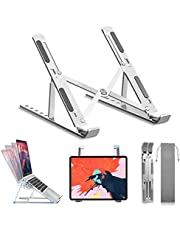 "Adjustable Laptop Stand Aluminum Laptop Computer Holder Portable Ergonomic Stand Mount Foldable Portable Desktop Holder Fully Collapsible Compatible 10-15.6"" Laptops or Tablet"