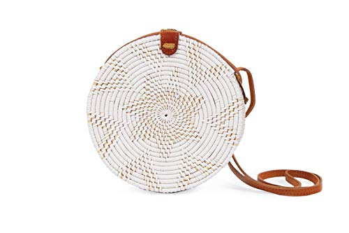 Rattan bags for Women-White Wicker Woven Circle Bali Handmade Handbag