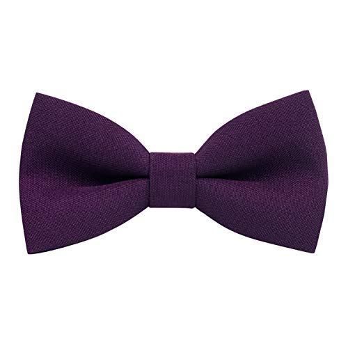 Classic Pre-Tied Bow Tie Formal Solid Tuxedo, by Bow Tie House (Medium, Plum)