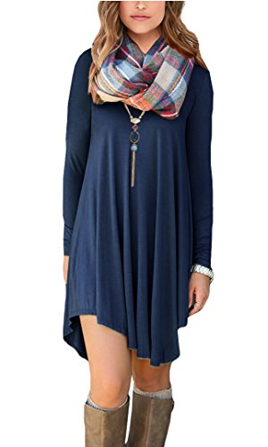 POSESHE Women's Long Sleeve Casual Loose T-Shirt Dress (M, Navy Blue)