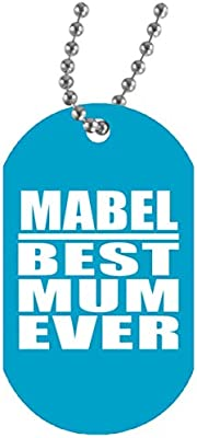 Mabel Best Mum Ever - Military Dog Tag Turquoise Collar ...