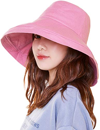 Maylisacc Sunhat Womens Wide Brim Beach Sun Hats Packable Gardening Hat with Chin String Pink ()