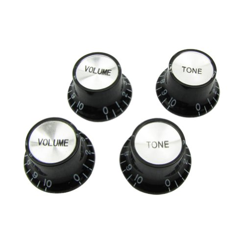 Musiclily Metric Size Plastic Top Hat style 2 Volume and 2 Tone Speed Control Knobs Set for Gibson Les Paul Electric Guitar Replacement, Black