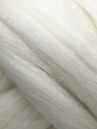 Spinning Wool Roving 1 lb Shep's Wool White Soft Merino Wool for Spinning, Hand Spinning, Wool for Felting, Wool Top Roving Spinning, (1lb) Needle Felting Wool, Wool roving, Wool Fiber