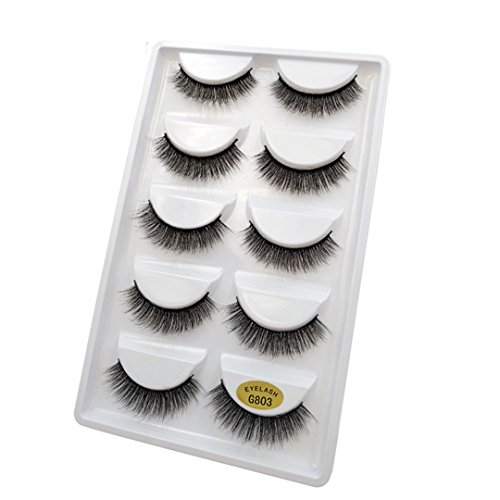5 Pairs 3D Mink es False Eyees Natural Makeup Eye Extension Long Cross Volume Soft Fake Eye es Winged Faux Cils