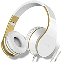 Over Ear Headphones, Tintec Wired HiFi Stereo Headset, Heavy Deep Bass, Folding Lightweight, Noise Isolation, with Built-in Mic for iPhone, iPad, Samsung, Laptop (White/Gold)