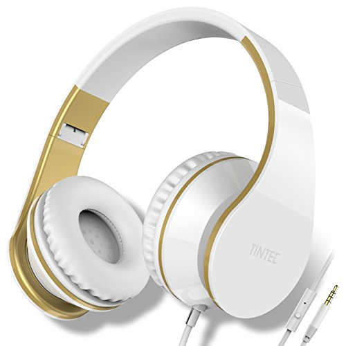 Stereo Line Ear Hooks (Over Ear Headphones, Tintec Wired HiFi Stereo Headset, Heavy Deep Bass, Folding Lightweight, Noise Isolation, with Built-in Mic for iPhone, iPad, Samsung, Laptop (White/Gold))