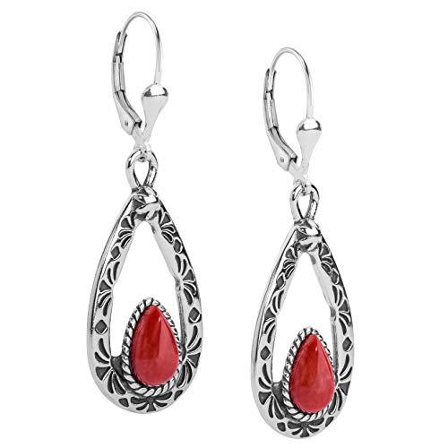 American West Sterling Silver Red Coral Teardrop Gemstone Dangle Earrings