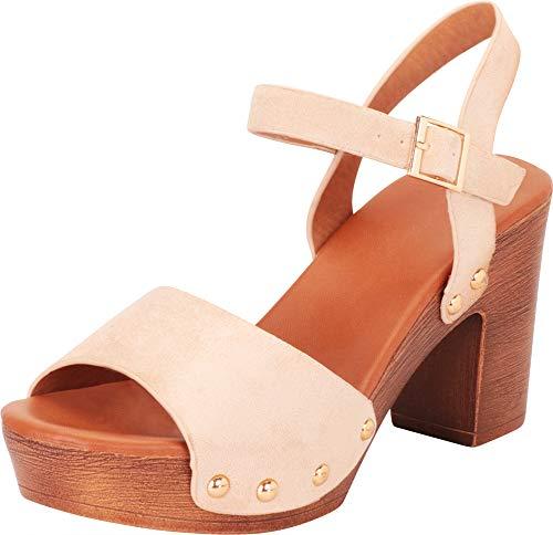 Cambridge Select Women's Retro 70s Open Toe Studded Chunky Platform Block Heel Sandal,8.5 B(M) US,Beige IMSU