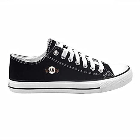 Fkion Baseball Team Logo Embroidered Black Canvas Low-Top Sneakers for Men Women Pick Team