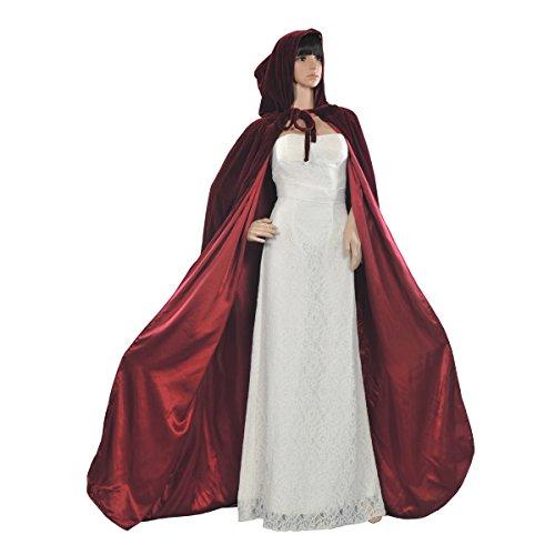 AW Gothic/Medieval Hooded Cloak Long Velvet Cape for