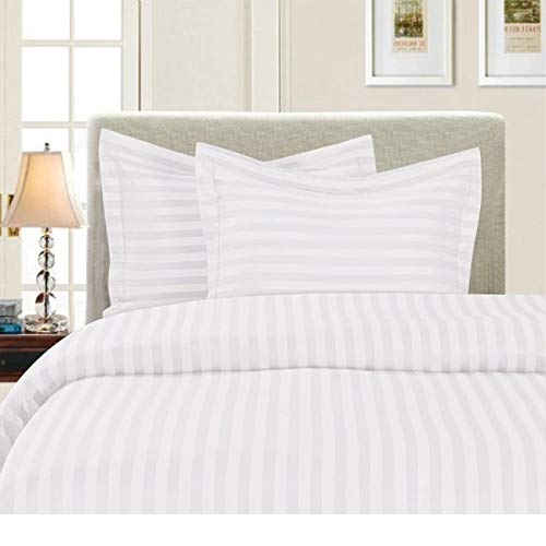 HNU 3 Piece Full - Queen Hypoallergenic Classic Dobby Stripe Pattern White Duvet Cover Set, Modern & Contemporary Double Brushed Microfiber Super Soft Bedding Set, Stylish Cozy Duvet Cover Set