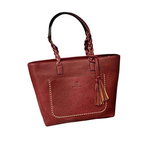 Women PU Leather Shoulder Bag Tote Bag Handbag Red - 6