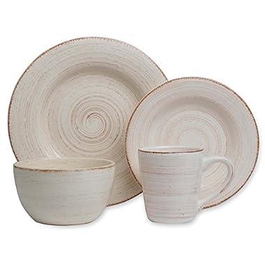Tag Sonoma Ironstone Ceramic 16-Piece Dinnerware Set Service for 4, Ivory