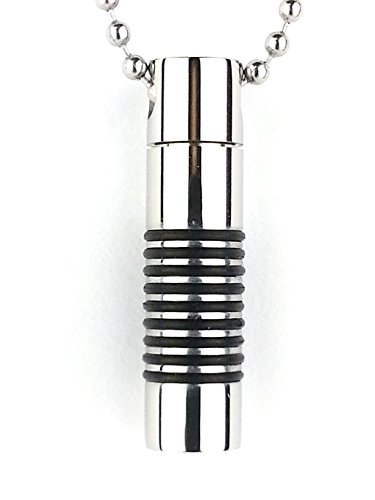Mens and Boys Diffuser Necklace Vial made of Stainless Steel with Black Bands for Essential Oil Diffuser or Cremation Vial.