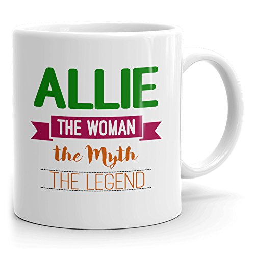 Personalized Allie Mug - The Woman The Myth The Legend - Gifts for Women, Wife, Mom, Girlfriend - 11oz White Mug - Green