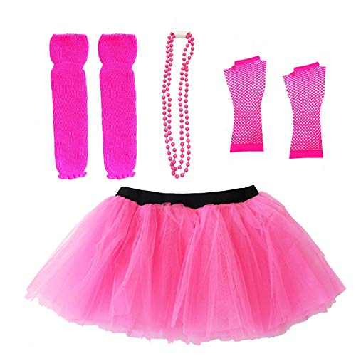 Dreamdanceworks 80s Fancy Costume Set - TUTU & LEG WARMERS & FISHNET GLOVES & BEADS (Hot Pink)]()