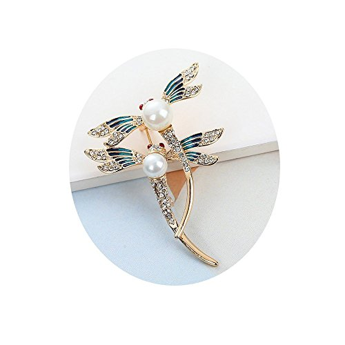 uple Dragonfly with White Pearl Brooch Blue Enamel Insect Pin Broach (Rose Gold) ()