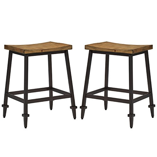 Stone & Beam Ariana Rustic Farmhouse Metal Bar Stool, 25 Inch Height, Set of 2, Brown