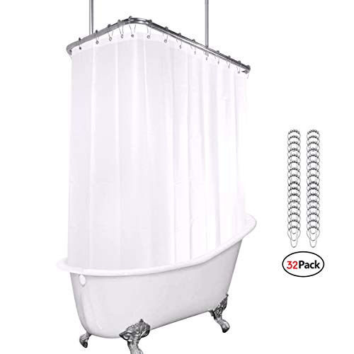 (Riyidecor White All Around Shower Curtain Set 180 x 70 Inches PEVA Extra Wide Wrap Around Shower Panel Clawfoot Tub 32 Pack Shower Hooks Included Heavy Duty )