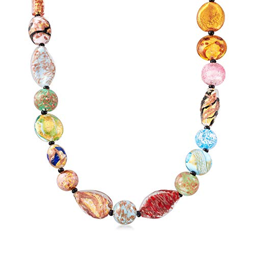 - Ross-Simons Italian Multicolored Murano Glass Bead Necklace With 18kt Gold Over Sterling