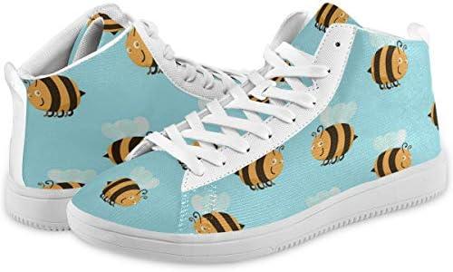 メンズ 蜂 ハチ 動物柄 スケートボードシューズ ミッドカット 日常着用 ハイカット レースアップ スニーカー カジュアル ドレスシューズ ハイトップ ショートブーツ デッキシューズ 運動靴