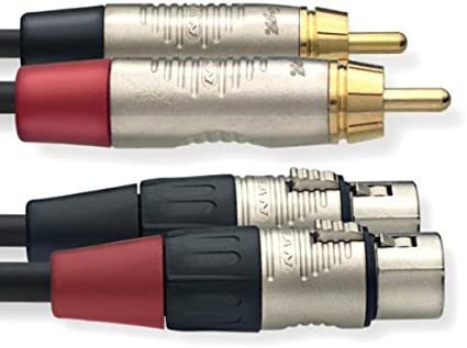 STAGG NTC3CMXFR 10 FT TWIN CABLE  XLR FEMALE JACK W  RCA MALE JACK
