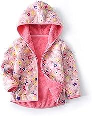 Eledobby Toddler Baby Boy Girls Fleece Long Sleeves Zip Jacket Outwear Kids Dinosaur Print Hooded Cardigans