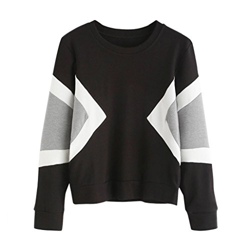 Sweatshirts Clearance! Mikey Store Women Sweatshirt Long Sleeve Crop Patchwork Pullover Tops (Small, Black)