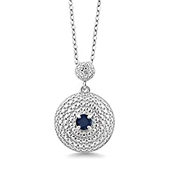 Round Blue Sapphire White Diamond Pendant