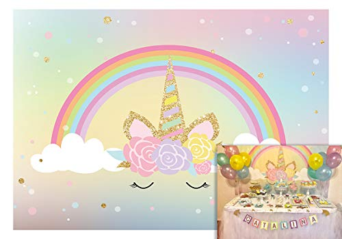 Allenjoy 5x3ft Magic Rainbow Unicorn Baby Shower Backdrop Birthday Party Banner Wall Decorations Background Dessert Table Background Photo Studio Shooting Props