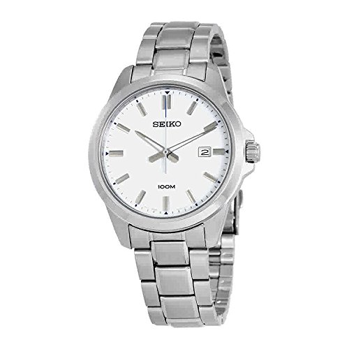 Seiko-Mens-42mm-Steel-Bracelet-Case-Hardlex-Crystal-Quartz-White-Dial-Analog-Watch-SUR241