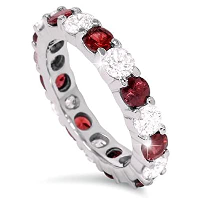 2 ct Ruby   Diamond Eternity Ring 14K White Gold Womens Stackable Wedding  Band - Size 5807f097f