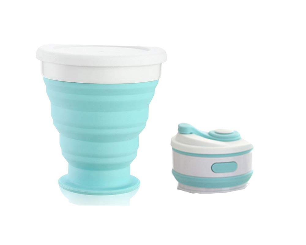 J/&Q Silicone Folding Camping Cup Reusable Collapsible Silicone Cup BPA Free Pocket Mini Size Silicone Expandable Drinking Cup Set Portable Max Capacity 200ML for Home Hiking Outdoors Commuters Blue