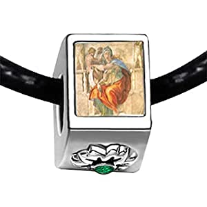 Chicforest Silver Plated Michelangelo's Art Delphic Sibyl Photo Emerald Green Crystal May Birthstone Flower Charm Beads Fits Pandora Charms