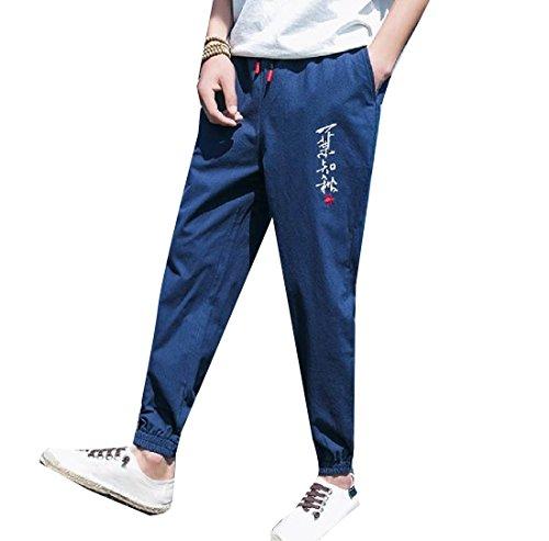 Winwinus Men Casual Embroidery Tenths Pants Linen Cotton Vog