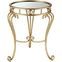 Convenience Concepts Coast Julia Decorative Mirrored End Table, Gold Leaf/Mirror