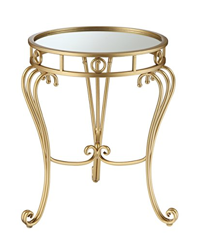 Convenience Concepts Coast Julia Decorative Mirrored End Table, Gold (Mirrored Round Bed)