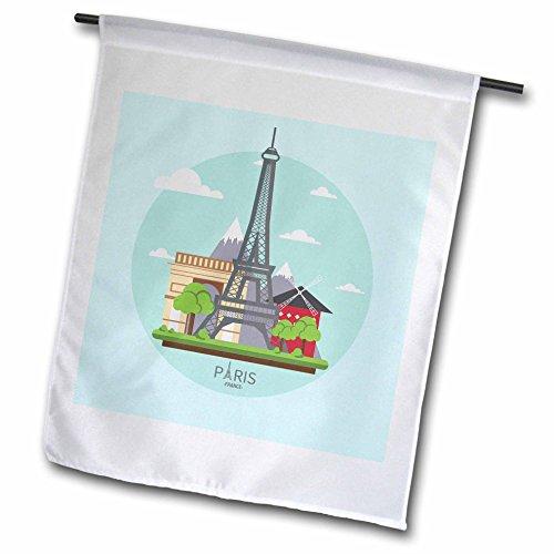 Tower Windmill (3dRose Sven Herkenrath Cities - Paris Eiffel Tower Windmill and Arc de Triomphe on Green Platform - 12 x 18 inch Garden Flag (fl_255864_1))