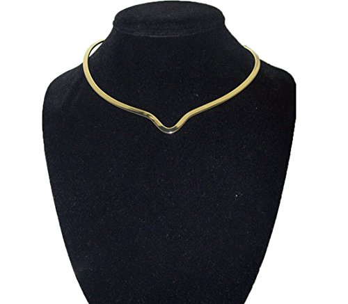 New Shiny Gold Notched Choker Collar Necklace Wire Average Size (CV13) -
