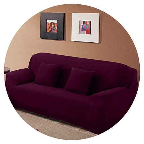 Choice Solid Color Sofa Cover Stretch seat Couch Covers Couch Cover Loveseat Funiture All warp Towel slipcovers,Grape,AB 190-230cm